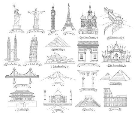 Illustrazioni vettoriali di stile di disegno di arte di doodle di viaggio. Monumenti famosi nel mondo.