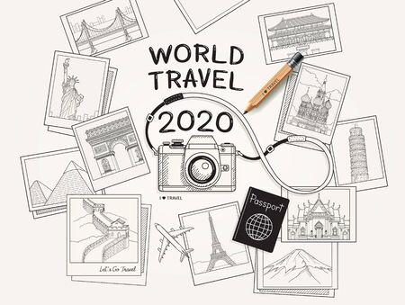 Concepto de viajes mundiales 2020. Ilustración de vector de estilo de dibujo de imagen fotográfica de cámara y monumentos famosos.