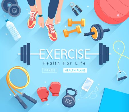 Exercises conceptual design. Young people doing workout. Sport Fitness banner promotion vector Illustrations.