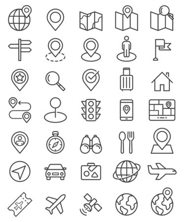 Navigator pointer line icons set. Vector illustrations.