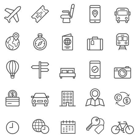 Travel booking line icons. Vector illustrations.  Çizim