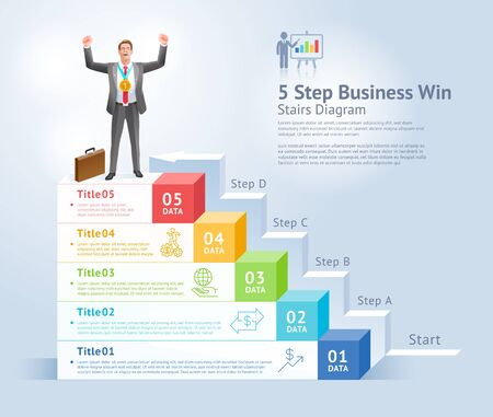 5 steps to business win concept. Businessman Men standing holding gold trophies on top infographics.
