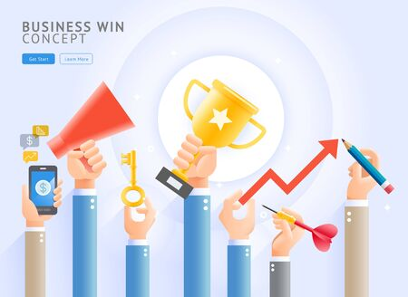 Business win conceptual. Group of Business hands holding a trophy , Mobile phone, megaphone, keys, darts and pencils. Vector Illustrations. Archivio Fotografico - 138192802