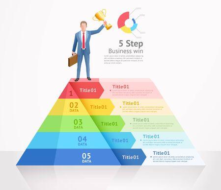 Business gewinnen Konzeptdesign-Vektor-Illustrationen. Geschäftsmann, der auf Top-Dreieck-Infografiken steht.
