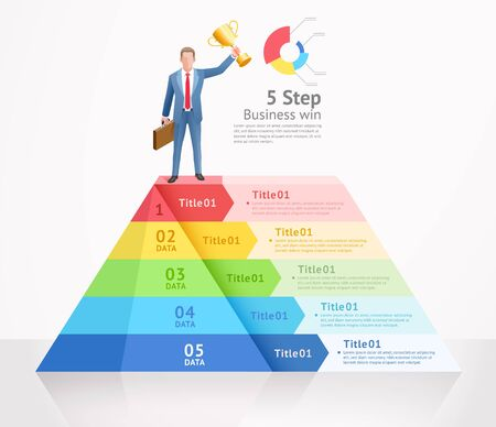 Business win conceptual design vector illustrations. Businessman standing on top triangle infographics.