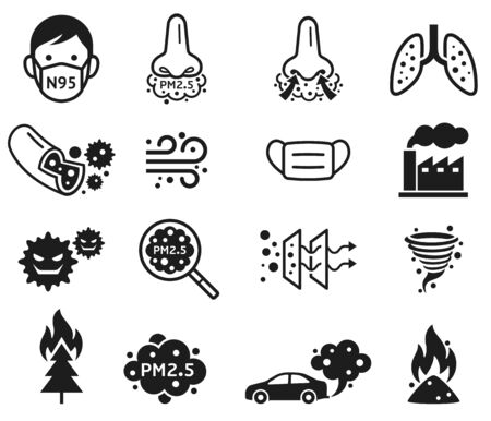 Micro dust pm 2.5 icons. Vector illustrations.
