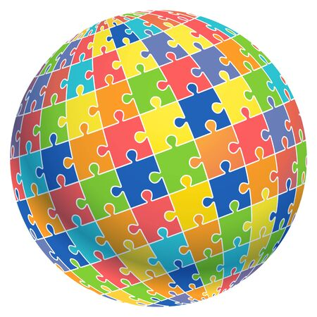 Jigsaw puzzle ball template background. Vector illustrations.
