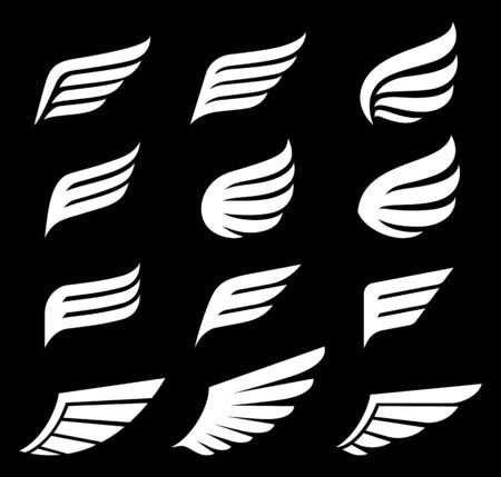 Wings icons logo vector illustrations.