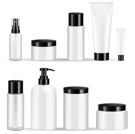 Cosmetic bottles packaging set vector illustrations.