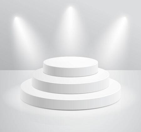 Podium with spotlight vector illustrations.