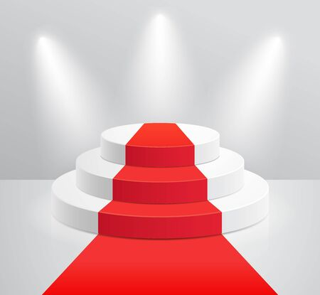Podium and red carpet with spotlight vector illustrations.