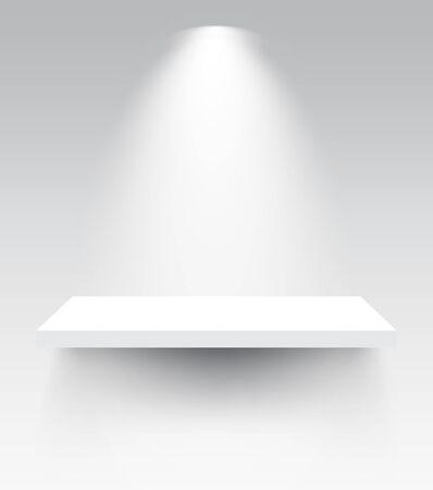Shelves with spotlight vector illustrations. 矢量图像