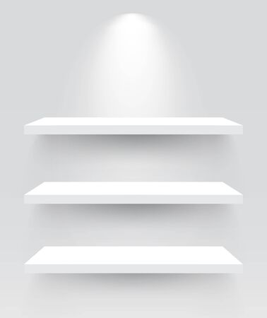 Shelves with spotlight vector illustrations. Illusztráció