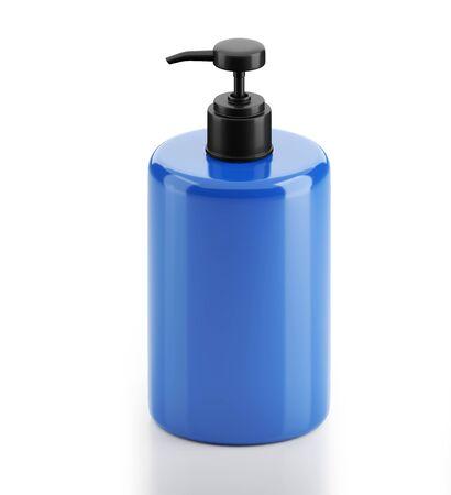 Alcohol gel or Soap bottle with pump mockup 3D illustration on white background. 3D rendering illustrations. 免版税图像
