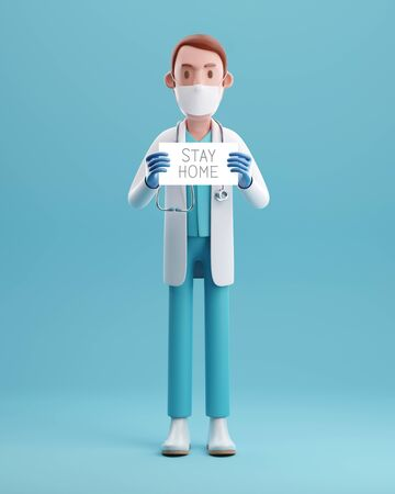 Doctor with a paper have text stay home holding on hand 3D rendering illustrations.