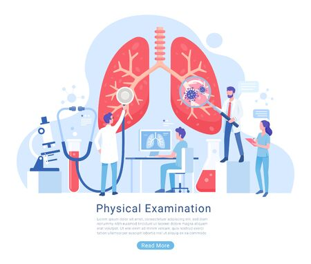 Physical and Respiratory system examination and treatment vector illustration. 矢量图像