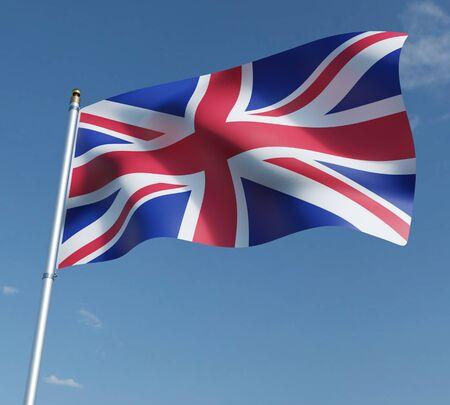 United Kingdom flag 3D illustration on blue sky background. 3D rendering illustrations. 免版税图像