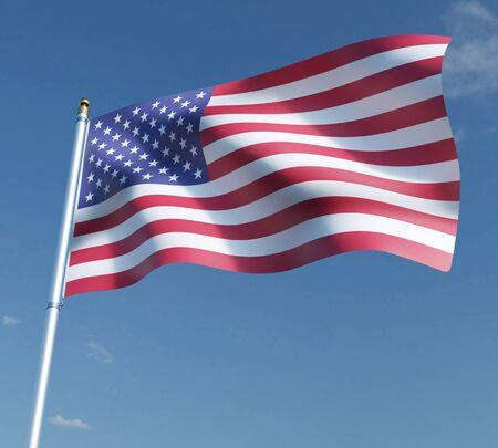 American flag 3D illustration on blue sky background. 3D rendering illustrations.