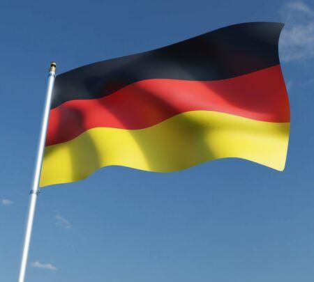 flag of Germany or German on blue sky background   3D illustration . 3D rendering illustrations. 免版税图像