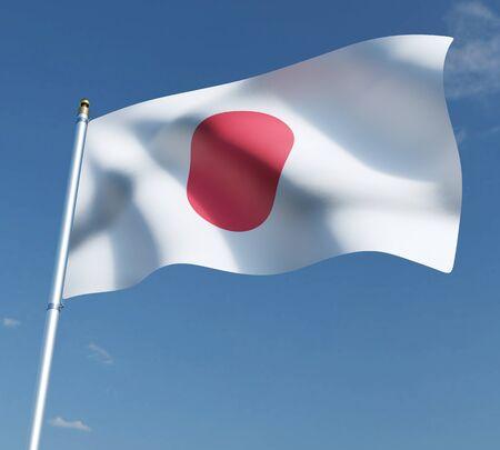 flag of Japan on blue sky background  3D illustration. 3D rendering illustrations.