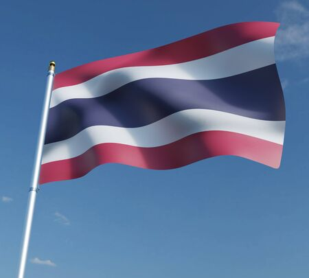 flag of thailand on blue sky background   3D illustration. 3D rendering illustrations.