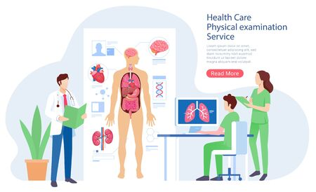 Health care physical system examination service vector illustration.