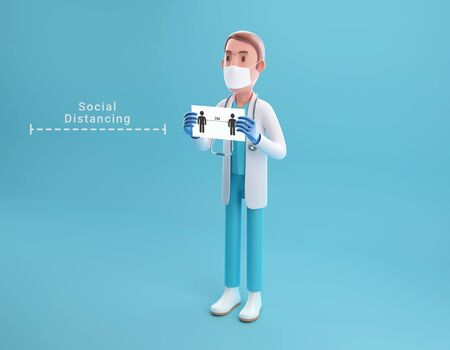 3D illustration cartoon character doctor with a paper have text social distancing on hand. 3D rendering
