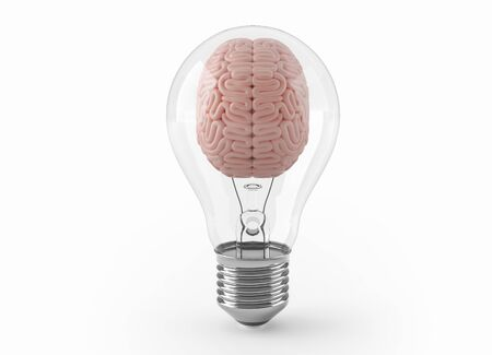 Brain inside light bulb with clipping path 3D illustration concept. 3D rendering 免版税图像
