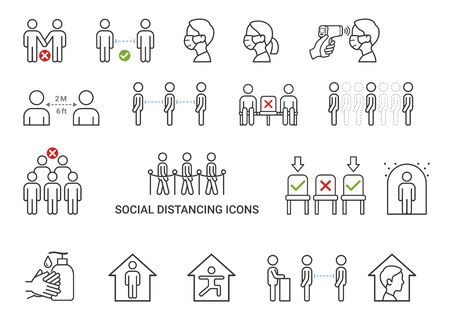 Social distancing icons concept vector illustrations.