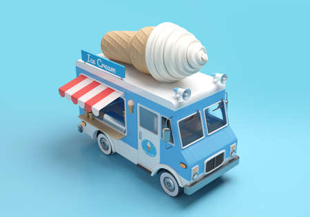 Ice cream truck 3D illustration with clipping path. 3D rendering