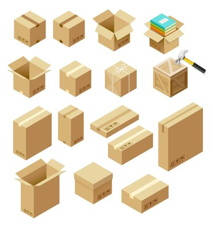 Set of package vector isometric illustration.