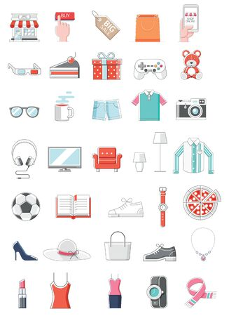Shopping online color icon thin line style vector illustration.