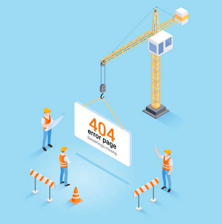 Construction crane hanging 404 error page not found and web site under construction or maintenance concept. Isometric vector illustration. Ilustracja