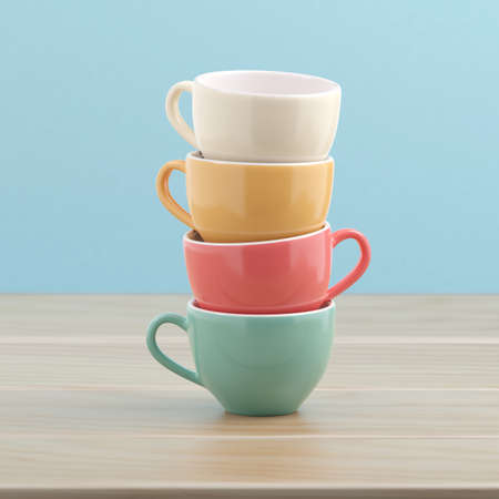Stack of coffee cups vintage color 3D illustration with clipping path. 3D rendering
