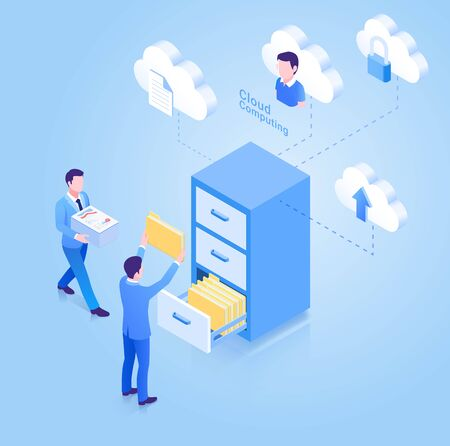 Cloud computing isometric concept. Vector Illustration.  イラスト・ベクター素材