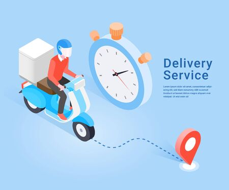 Delivery Service by scooter. Isometric concept. Vector Illustration.