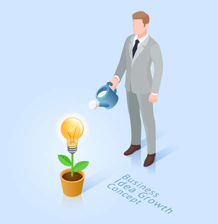 Business ideas growth concept. Business man with pot watering light bulb tree. Vector Isometric illustrations.