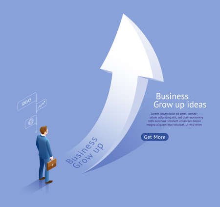 Business grow up ideas. Businessman looking white arrow grow up vector isometric illustrations. 矢量图像