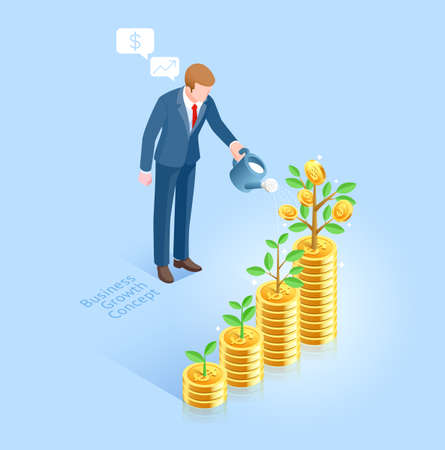 Business growth concept. Business man with pot watering money tree. Vector Isometric illustrations. 矢量图像