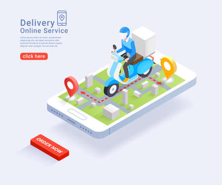 Delivery Service online by scooter Isometric concept. Vector Illustration.