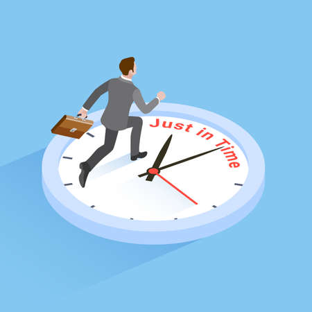 Business time concepts. Businessman running with clock. Isometric vector illustration. Illustration