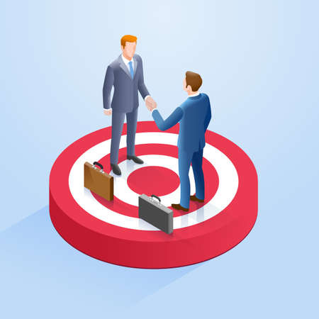 Two businessmen shake hands on the target. Vector Isometric illustrations.