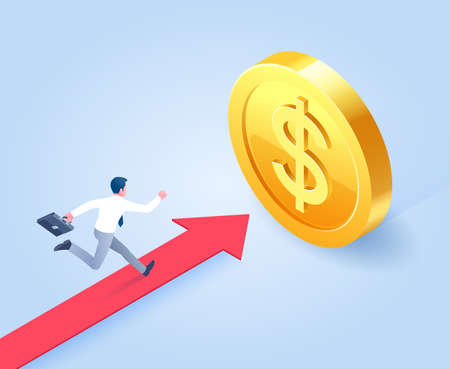 Businessman run on red arrow to gold target. Vector Isometric illustrations.