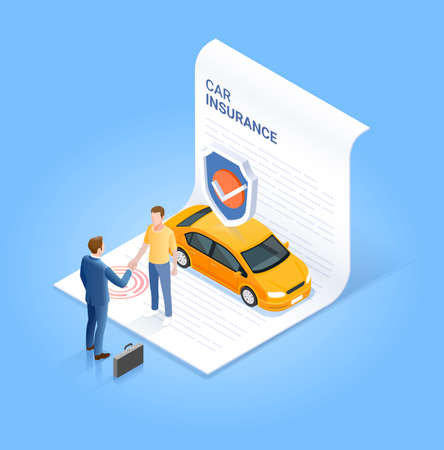 Car insurance services. Businessman shaking hand with customer on insurance contract document. Vector isometric illustration. 矢量图像