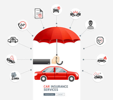 Car insurance services. Hand of business man holding the red umbrella to protect red car. Vector illustration.