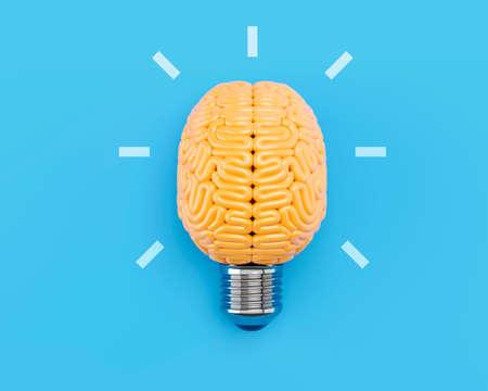 Brain light bulb   3D illustration concept. 3D rendering