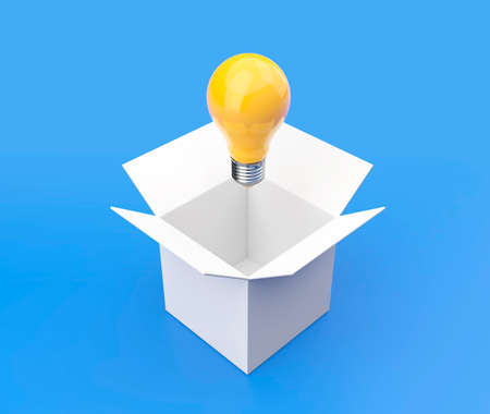 Yellow light bulb coming out a empty white box 3D illustration with clipping path. 3D rendering