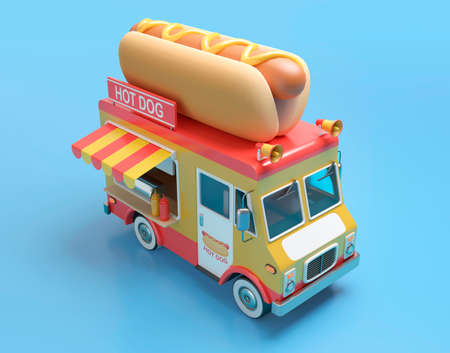 Hot dog truck 3D illustration with clipping path. 3D rendering 免版税图像