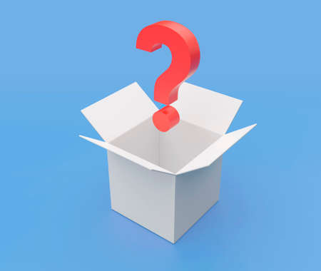 Question mark coming out a empty white box 3D illustration with clipping path. 3D rendering