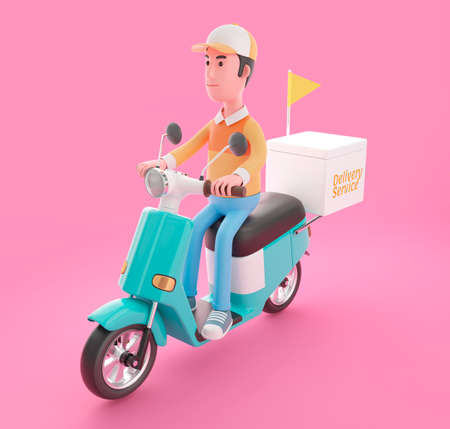 Delivery man drives scooter with  3D illustration concept. 3D rendering